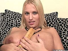 Tattooed blonde Zaisha pleases her pussy with a baseball bat