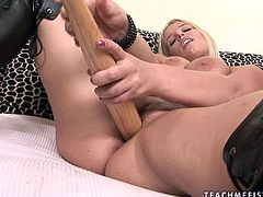 Damn, her chest is worth salivating over! Big breasted blondie Zaisha lets her lover toy her snatch. Then she finds a baseball bat that suits her needs and starts her hot masturbation session.