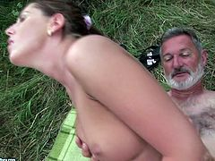 Shameless brunette bitch has no sexual boundaries. She fucks a stranger guy in the forest. He is twice older than her but that doesn't hold her back.