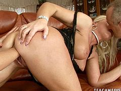 Cheesecake busty blond MILF gets her stretched vagina dildo fucked and later fisted by insatiable brunette lesbian in perverse threesome sex video by 21 Sextury.