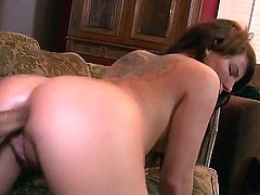 Petite long haired brunette whore Casey Cumz with natural boobs and hot body gets throat boned deep while fucking in the round bouncing ass during gang bang in living room.
