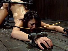 This desirable and delightful siren Lyla Storm gets tortured so fucking hard. She gets tied in two iron bars, having her nipples pulled down with a twitch and ropes!