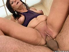 Despite the age this bad ass granny is literally addicted to sex pleasures. Besides she loves young studs with long lasting cocks. So she seduces one for hardcore sex session. Watch slutty mature woman getting nailed bad in missionary and doggy sex positions.