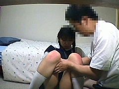 Check out this horny Japanese teenie having fun in her dorm room. She gave him some head and then took his schlong from behind like a champ!
