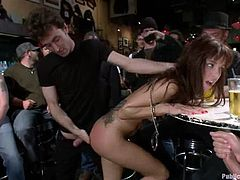 This action takes place at the bar in downtown. Sexy brunette Gia Dimarco gets too drunk, which means that she will start acting naughty.