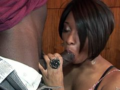 Curvaceous black mommy seduces handsome guy for sex. She lies on a dining table spreading her legs wide. She feeds him with tasty juice. Then he shoves his strong prick in wet clam thrusting deep and rough.
