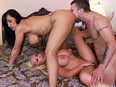 Jaw-dropping moms Lisa Ann and Nikki Benz gives tremendous double blowjob. Then Nikki gets hammered hard in her twat missionary style. Later Lisa Ann is pounded bad doggy style.