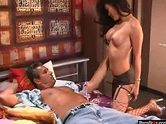 Sex hungry white tourist calls up a salty Asian prostitute Lucy Lee. She strips in front of him flashing big tits and nice round ass before she clings to his oversized penis to suck it zealously and later welcome tongue fuck from him.