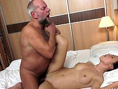 Denise Sky gets her pussy licked and pounded by a lewd old man