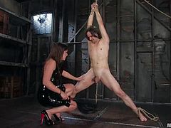 Skinny dude get tied up by his mistress. Later on she also tortures and sucks his cock. After that she destroys his ass with a strap-on.