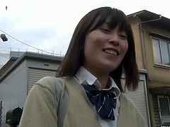 "Watch this hot and sexy Japanese school girl finding a safe spot to show us her hot hairy pussy for vibrating it in this outdoor video.She seems shy and demur, just wait until they slide some ""sensation"" down their panties for our pleasure.Enjoy her toying her sweet hairy tight pussy."