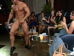 A group of milfs are having a party in a club. Some sexy hunk offers the women to suck his dick and they gladly agree and do all what they can to milk the wang dry.