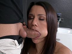 Beautiful dark-haired chick Samia Duarte and her man are having a great time in the bathroom. Samia drives the dude crazy with a stunning blowjob and then lets him fuck her pussy and ass in cowgirl and other positions.