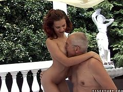 Hot blooded brunette doxy pleases her overaged grey-haired sugar daddy. She clings to his cock to suck it zealously before he fucks her tight pussy in missionary style.