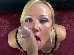 Blonde beauty Austin Taylor plays nasty with a cock during top POV oral