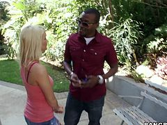 Charming blonde chick Emily Austin is having fun with some black dude outdoors. She pleases him with a nice blowjob and then they fuck doggy style and in cowgirl position.