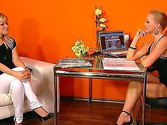 Cute amateur blonde Bridget with natural tits takes off tight white pants and black blouse at the interview with stunning famous milf Silvia Saint in short dress and high heels.