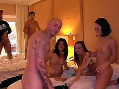 Slender brunette sluts Danica Dillon, Giola Biel and Kristina Rose with tight asses and natural titties get naked while teasing horny dude and have memorable orgy with them in hotel room.