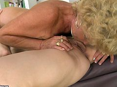 Well, these weird but hot masturbation of two lesbians presented in 21 Sextury xxx clip will surely make you jizz. Spoiled blondie with smooth ass wears strapon. Old ugly and booty nympho stands on knees and sucks this strapon like a real dick with delight.