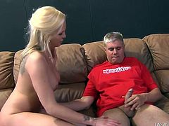 Busty blonde chicks toys herself. Then the guy fucks and toys her pussy with a vibrator at the same time.
