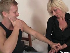 Watch a nasty and vicious blonde mature slut as she rides her neighbor's hard rod of meat til her sweet pink cunt explodes of orgasmic pleasure. Nothing like some young meat to get her in the mood!