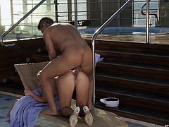 Sweet blonde babe gives nice blowjob and then lies down on a lounge chair. After that she gets her smooth pussy torn up.