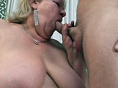 Watch this big boned granny take a nice hard young cock in ever hole imaginable. She is hungry, and it isn't cake she's after!
