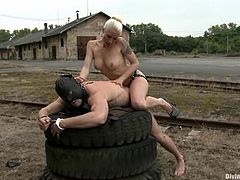Blonde mistress fingers and toys guy's ass with a strap-on. Later on she also sits on his face and he licks her vagina.