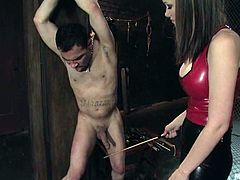 Raven Alexis ties the guy up and then whips him with a stick. Later on she sits on his face and toys the ass from behind.