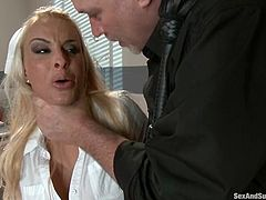 This sizzling nurse gets down on her patient Mark Davis and starts sucking his cock. She did not notice in passion how Mar tied her up. Then she undergoes a nice vaginal penetration!