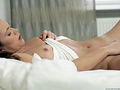 Charming brown-haired chick Alyssa Reece is getting naughty in her room. She moves her legs wide apart and fingers her shaved coochie till she gets satisfied.