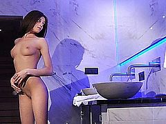 Dizzy old Attila entered the wrong bath and bumped upon a sexy young brunette girl. But for her he is not a shock but a welcomed appearance as her tiny pussy has always appetite for cock.