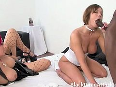Brunette and readhead slut sharing one gigantic black cock. First, they take turns of his slimy tongues to wet their pussy slits, then soon they wait for each other's turn to ride on that monster