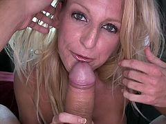 Horny blonde girl strips her clothes off in the car and gives a blowjob to some guy. After that she gets fucked in her wet pussy.