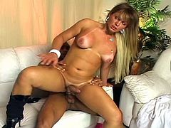 Hot blonde shemale with fantastic big tits seduces a dude, who lets her suck his cock before he plows into her tight ass, making both of their cocks hard.Enjoy the last cum on tits scene for happy ending!