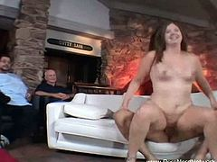 This chubby wife and her hubby are swingers. He gets to watch and she gets another cock to play with. This, time she got screwed rough and jizzed all over her face.