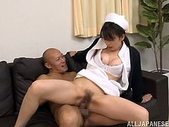 This naughty doctor promised the nurse Riko Miura a rise... if she gave him something back of course! Her cute mouth and her tight pussy is what he wants!