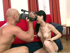Beautiful brunette Lucianna strips and shows her perfect body to some guy. Then she drives him crazy with a blowjob and they have ardent anal sex doggy style and in other positions.