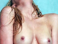 Emily Kae with tiny tities and shaved bush does striptease before she sticks her fingers in her bush
