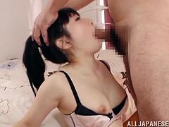 Hitomi Fujiwar is the Japanese girl getting her face fucked in this deepthroat blowjob porn video that ends with a mouthful of cum.