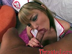 Maya Hills the slutty nurse gives a blowjob to a patient