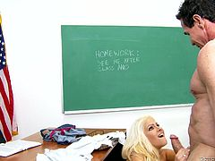 Voracious blonde babe is screwed hard by her teacher. Brutal stud pounds tight clam upskirt from behind. Then the girl rides hard stem vigorously.