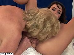 Nasty mature lesbian Sally G. plays dirty games with a charming brunette. The women eat each other's pussies and practice scissoring afterwards.Enjoy this horny old granny with lovely young babe.