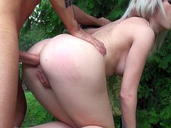 Lusty bitch rides big dick on top fucking in the park under the open sky. Then she stands on her all four serving her ass. The guy shoves his massive cock in her butt hole stretching the pucker wide as hell.