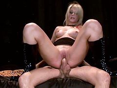 This dude can just seat and enjoy in nasty and wild cock ride because that blonde slut is perfect and she love to do that before she gets facial.