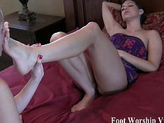 Sadie is a little dominant and she loves it when Bella worships her feet. The other girls like foot play as well.