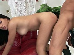 Appealing brunette hottie with slim and sexy body is riding cock in cowgirl position. She is also wearing cowboy hat while riding the stem. Later in the clip, lusty girl is hammered bad doggy style.