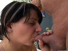 Naughty brunette hoe is playing with her cunt in the bedroom. Old grandpa enters the room thrusting his dick up in the air. So she sucks him properly. Later she jumps on his small rod.
