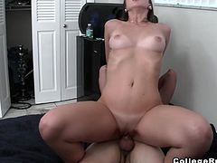 A brunette skank gives a titjob to her man. A brown-haired hottie sucks and rides some dude's prick. A blonde gets fucked doggy style. College life is crazy!