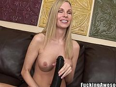Look at this dirty blonde slut. She takes out her big dildos and plays with them. She sucks on her big black dildo and then shoves the flesh colored dildo up her cute pussy hole. Watch as she masturbates herself and makes herself cum.